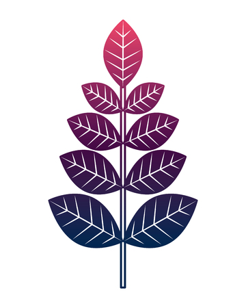 leaves branch decoration natural image vector illustration degrade color design