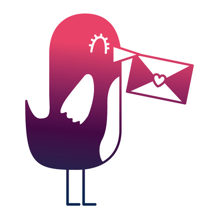 sweet bird with envelope message in beak cartoon vector illustration degrade color design