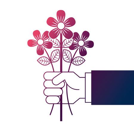 hand holding bunch flower natural decoration vector illustration degrade color design Illustration