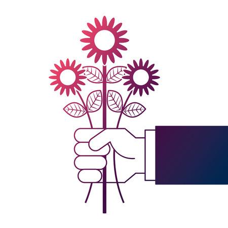 Mano sosteniendo manojo flor decoración natural ilustración vectorial degradar diseño de color Foto de archivo - 96814008