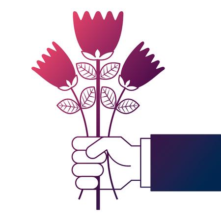 hand holding bunch flower natural decoration vector illustration degrade color design Ilustracja