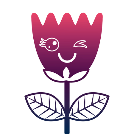 kawaii wink flower tulip leaves cartoon vector illustration degrade color design