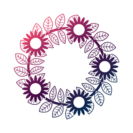 floral wreath flowers and leaves foliage decoration vector illustration degrade color design