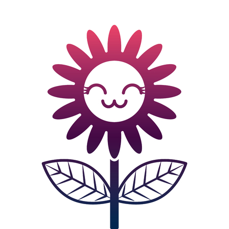 cute  flower decoration cartoon vector illustration degrade color design