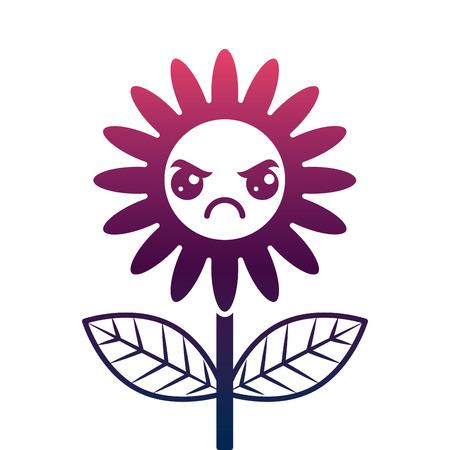 cute angry flower decoration cartoon vector illustration degrade color design Ilustrace
