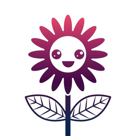 cute happy flower decoration cartoon vector illustration degrade color design Foto de archivo - 96825412