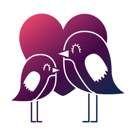 cute flying birds heart in love romance vector illustration degrade color design
