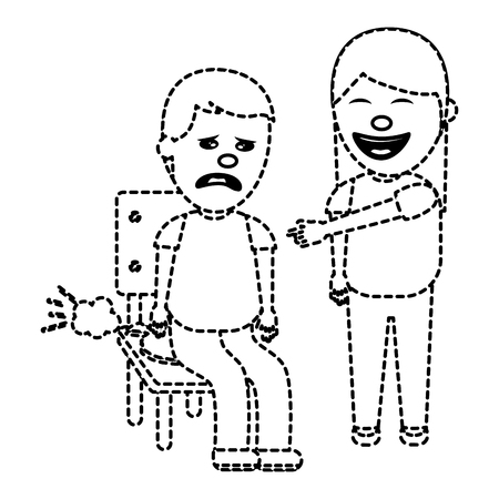 woman make joke a friend with cushion fools day vector illustration dotted line image