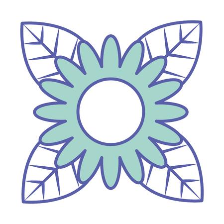 beautiful one flower on leaves decoration vector illustration green pastel image Illustration