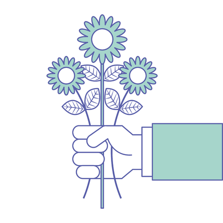 hand holding bunch flower natural decoration vector illustration green pastel image Ilustracja