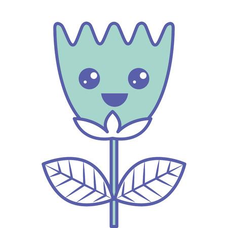 happy flower tulip leaves cartoon vector illustration green pastel image Ilustrace