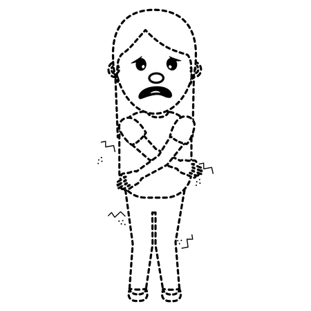 woman itch sensation for a joke vector illustration dotted line image Illustration