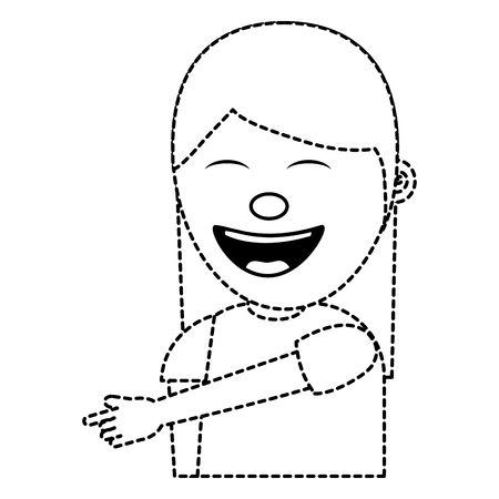 portrait laughing young woman pointing with finger something vector illustration dotted line image Illustration