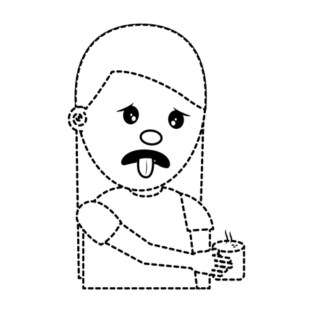 portrait young woman holding in hand beverage unpleasant vector illustration dotted line image
