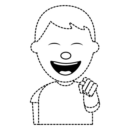 portrait of happy young teenager boy smiling pointing with finger vector illustration dotted line image Stock Illustratie