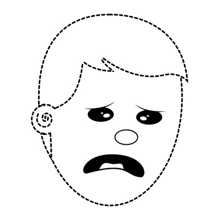 depressed and sad young face man vector illustration dotted line image