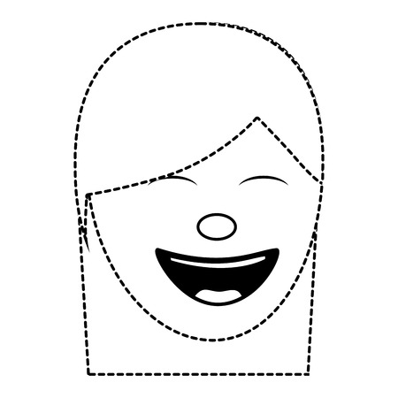 cartoon face woman happy laughing character vector illustration dotted line image Archivio Fotografico - 96862764