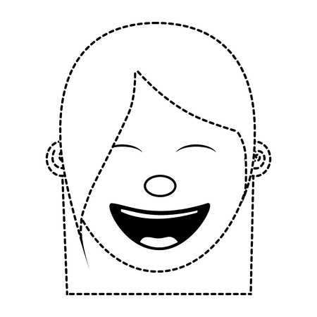 cartoon face woman happy laughing character vector illustration dotted line image Archivio Fotografico - 96863318