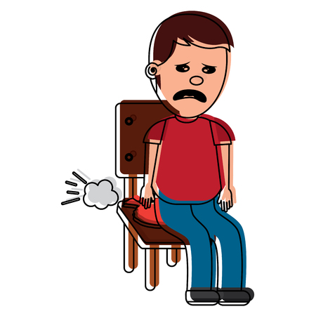 sad man sitting in chair with whoopee cushion fools day