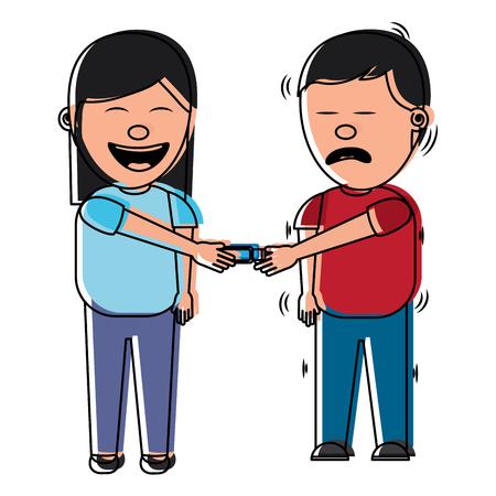 cartoon woman smiling and joke shocking man fools vector illustration  イラスト・ベクター素材