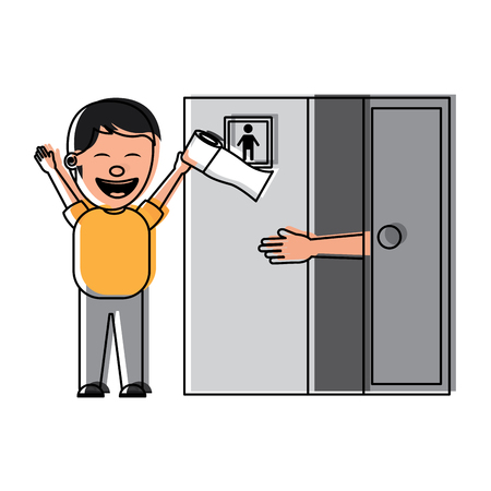 man jokes to the friend removing toilet paper from the bathroom fools day vector illustration Illustration