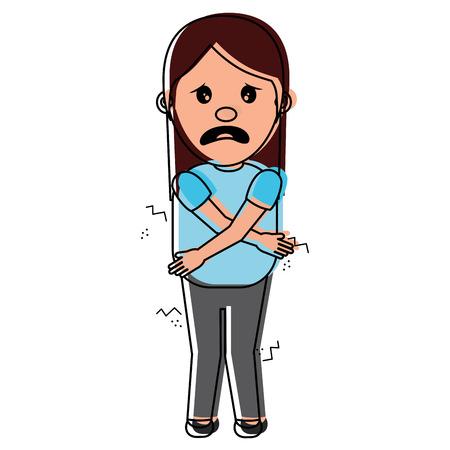 woman itch sensation for a joke vector illustration