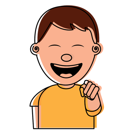 portrait of happy young teenager boy smiling pointing with finger vector illustration Banque d'images - 96863471