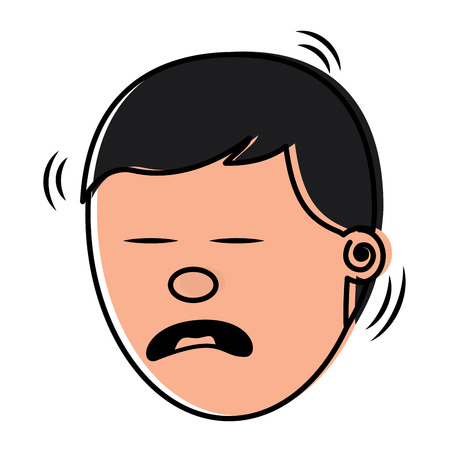 depressed and sad young face man vector illustration