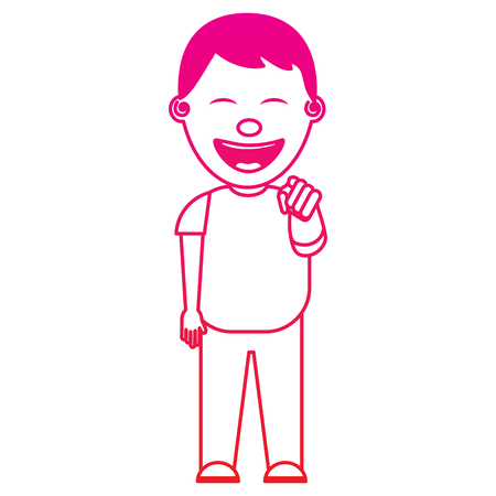 smiling boy bullying someone and pointing finger vector illustration gradient color image Illustration