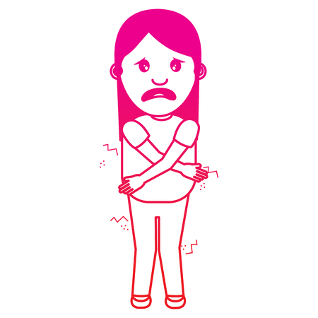 woman itch sensation for a joke vector illustration gradient color image