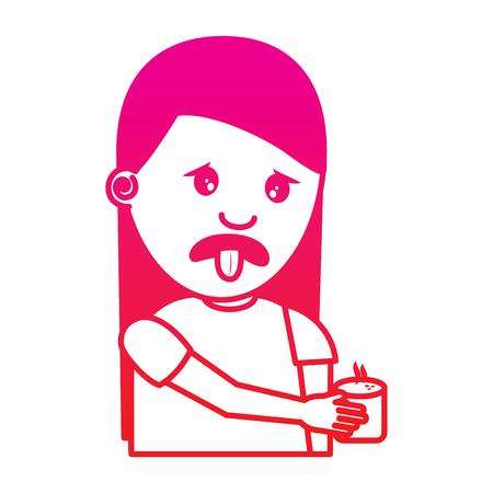 giovane donna del ritratto che tiene immagine sgradevole di colore gradiente dell'illustrazione di vettore della bevanda disponibila