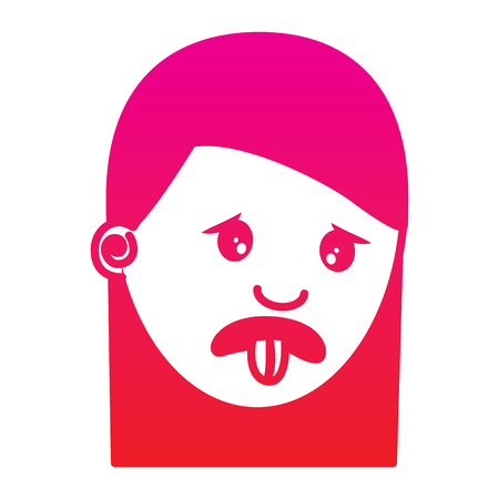 woman with nasty tongue gesture outside vector illustration gradient color image 일러스트
