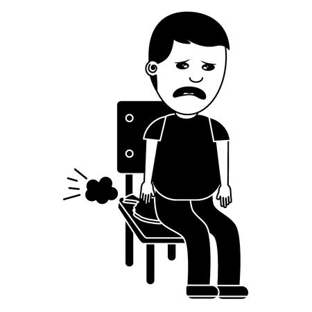 슬픈 남자 whoopee 쿠션 바보 하루 단색 이미지와 의자에 앉아