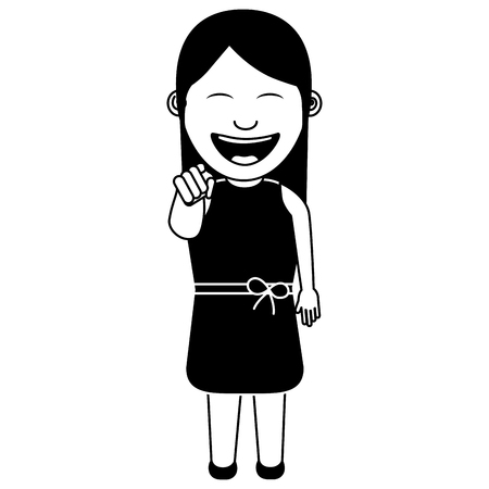 funny woman smiling and making a gesture pointing vector illustration monochromatic image