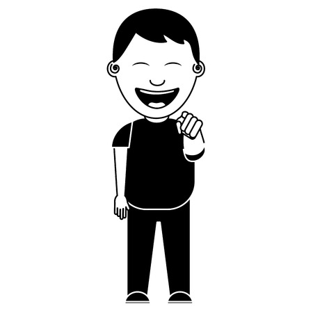 smiling boy bullying someone and pointing finger vector illustration black and white image