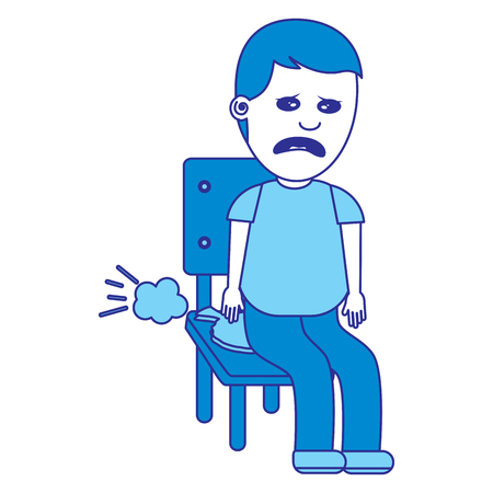 sad man sitting in chair with whoopee cushion fools day blue image 向量圖像