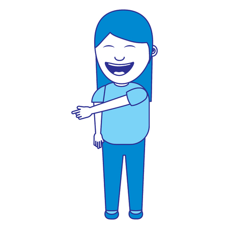 happy laughing girl character female vector illustration blue image Archivio Fotografico - 96864318