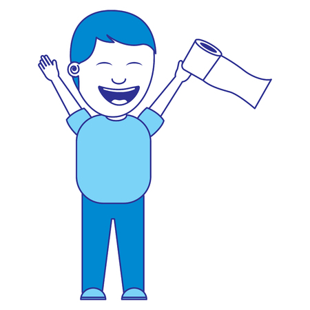 man smiling with toilet paper in his hand for a joke blue image Иллюстрация