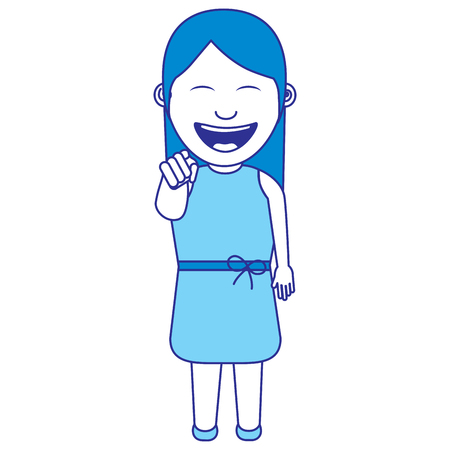 funny woman smiling and making a gesture pointing vector illustration blue image Illustration