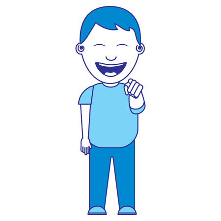 smiling boy bullying someone and pointing finger vector illustration blue image