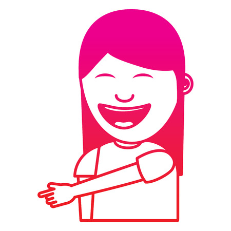 portrait laughing young woman pointing with finger something vector illustration gradient color image Illustration