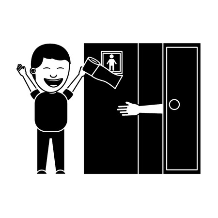 man jokes to the friend removing toilet paper from the bathroom fools day vector illustration black and white image