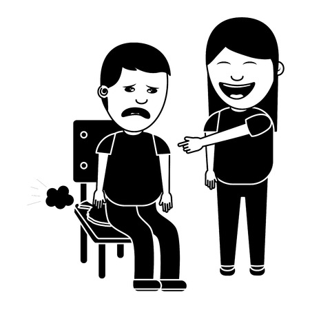 woman make joke a friend with cushion fools day vector illustration black and white image