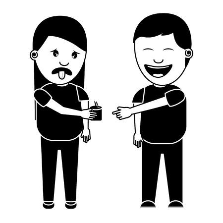 Man glimlachend een vrouw grap drinken dwazen dag vector illustratie zwart-wit beeld Stockfoto - 96864403