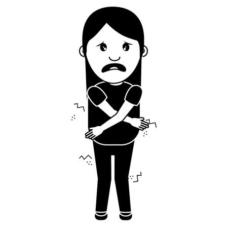 woman itch sensation for a joke vector illustration black and white image Banque d'images - 96864406