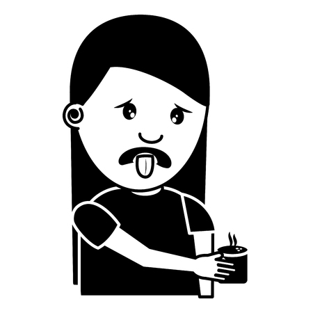 portrait young woman holding in hand beverage unpleasant vector illustration black and white image Archivio Fotografico - 96864416