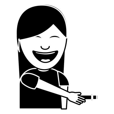 Mujer joven con elemento para realizar una broma ilustración vectorial imagen en blanco y negro Foto de archivo - 96864418