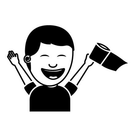 portrait young man smiling raised hand toilet paper vector illustration black and white image