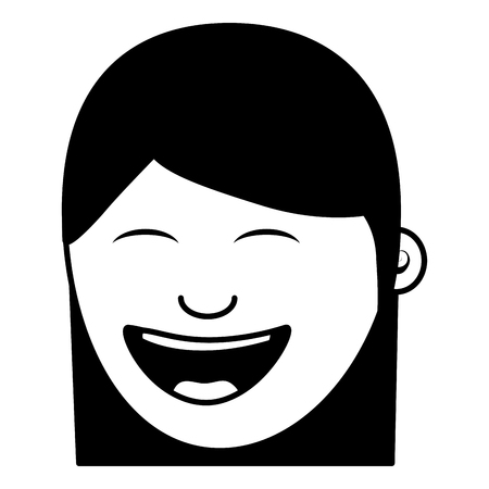 cartoon face woman happy laughing character vector illustration black and white image Archivio Fotografico - 96864565
