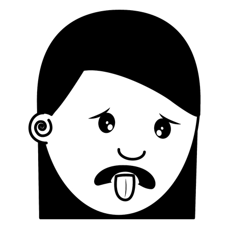 woman with nasty tongue gesture outside vector illustration black and white image
